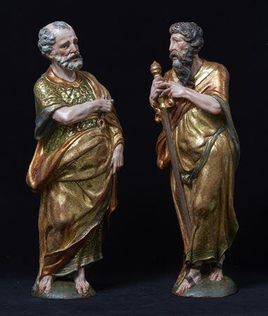 A pair of sculptures of Saint Peter and Saint Paul